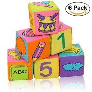 6pcs/lot Infant Baby Cloth Soft Rattle Building Blocks Toy for Toddlers and Kids,Number Stack Blocks Educational Toy Soft Blocks Set Cube Cloth Early Learning for Children Christmas Gift