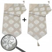 2x Tischläufer Barock, Tischdecke Tischdeko Mitteldecke, beige silber Glanz-Effekt 180x33cm ~ Variantenangebot