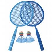 Eddy Toys badmintonset junior blauw 43 cm 5-delig