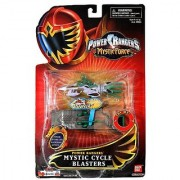 Bandai Year 2006 Power Rangers Mystic Force Series 4-1/2 Inch Long Vehicle Set - Green Mystic Cycle Blasters with Launching Pad Plus Green Power Ranger Figure