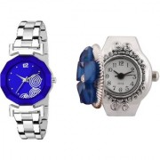 Katrodiya New Arrival Blue Dial Metal With Blue Flower Finger Ring Stratchable Strp Analog Watch For Women
