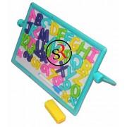 Kirat Magnetic Alphabets and Numbers Board Writing Slate Write and Wipe for Early Learners Kids Chalk Duster 2 in 1 Board