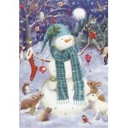 adventskalender kaart met envelop - Sneeuwpop met dieren uit het bos