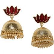 Rubans Gold Toned Enamel Handpainted Lotus Jhumka Earrings