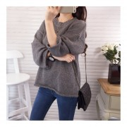 Female Autumn & Winter Loose Pullover Knitted Sweater Coat With Rolling Hem Gray