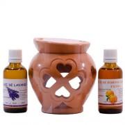 Candelă de aromaterapie și 2 sticluțe de uleiuri esențiale 50 ml: Lvandă și Portocale Dulci
