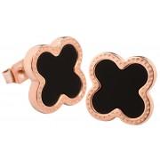 Troli Růžově pozlacené ocelové náušnice kytičky s černým středem KE-006