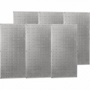 Wall Control Industrial Metal Pegboard - Galvanized Metal, Six 16 Inch x 32 Inch Panels, Model 35-P-3296GV, Gray