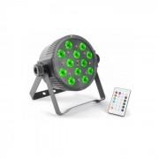 Beamz FlatPAR 12x 3W Tri-color LED DMX IR avec télécommande