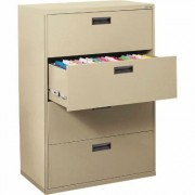 Sandusky Lee 400 Series 4-Drawer Lateral File Cabinet - Putty (Pink), 30 Inch W x 18 Inch D x 53 1/4 Inch H, Model E204L-07