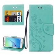Huawei nova Butterflies Love Flowers Embossing Horizontal Flip Leather Case with Holder & Card Slots & Wallet & Lanyard(Green)