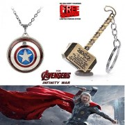 2 Pc AVENGER SET - THOR HAMMER - GOLD COLOUR METAL KEYCHAIN & CAPTAIN AMERICA REVOLVING SHIELD IMPORTED METAL PENDANT WITH CHAIN ❤ LATEST ARRIVALS - RINGS, KEYCHAINS, BRACELET & T SHIRT - CAPTAIN AMERICA - AVENGERS - MARVEL - SHIELD - IRONMAN - HULK - THO