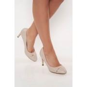 Szürke elegáns műbőr cipő magassarkú