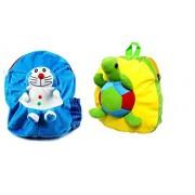 Blue Tree School Bag for Kids/Girls/Boys/Children Plush Soft Bag Backpack Cartoon Bag Gift for Kids Doreamon and Tortoise Cartoon Toy Cute Birthday Return Gift/ School Bag/ Travelling Carry Picnic Bag/ Teddy Bag For Children (Blue Yellow_3 to 5 Year)