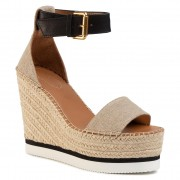 Espadrile SEE BY CHLOÉ - SB34180A Fabric Oasi 030 Nat/Nat Calf 999 Nero