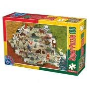 Super puzzle Animale din Romania, 100 piese