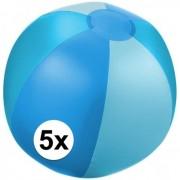 Geen 5x Opblaasbare strandbal blauw