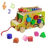 Wooden Toys Pull Cars Xylophone Knock Musical Instruments Animal Xylophones 8 Keys with 2 Mallets 10 Shape Blocks for Kids Toddlers Girls Boys 3 4 5 Years