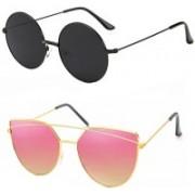 Elligator Over-sized Sunglasses(Black, Pink)