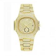 Top WH Bling-ed out Reloj para Hombre, Reloj de Cristal Unisex Reloj Bling Iced-out Reloj de Pulsera oblongo Reloj analógico de Cuarzo de Diamantes de Moda con Esfera de cronógrafo simulado