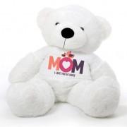 White 5 feet Big Teddy Bear wearing a Mom I Love You So Much T-shirt