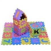 Yosoo 36Pcs Educational Eva Foam Children Playing Mat Interlocking Puzzle Cushion Pad Multicolored Alphabet Letters & Number Small Blocks Soft Floor Kids Room Decor Indoor Fitness Yoga Carpet, 15 15Cm