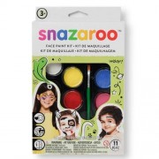 Snazaroo Face Painting Pack - 8 colours (White, Black, Blue, Red, Yellow, Green, Purple, Pink), brush & sponge.