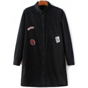 Zaful Lettre Patch à manches longues Chemise en jean Noir L