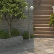 vidaXL Záhradné dvojramenné stĺpové svietidlo, 220 cm