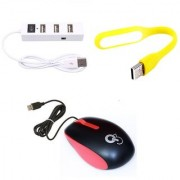 Q3 Q8N High Speed Ergonomic Design USB Mouse with 4Port USB HUB USB Light(Yellow Red White)