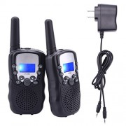Upgrow Kids Walkie Talkies Rechargeable Long Range 22 Channel Frs/Gmrs Lcd Display 2 Way Radio (Black)