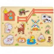 Puzzle lemn incastru animale ferma 11 piese