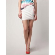 BERSHKA Flower Print Skirt White
