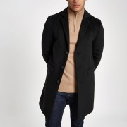River Island Mens Black single breasted overcoat (S)