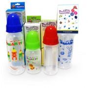 Combo Set of 4 Baby Feeding Bottle 150ml Plain 150ml Round Plain 250ml Print and 250ml Spoon Feeding Bottle