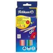 Creioane colorate 12 culori triunghiulare 4 mm Pelikan