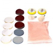 DIY Crafts Glass Polishing Kit with 20 Gm Cerium Oxide Powder and Polishing Pads Sanding Disc 3 inch Backing Pad + M10 (Pack of 34 Pcs)