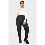 PrettyLittleThing PLT Plus - Pantalon taille haute noir à rayures fines et zips contrastants, Noir - 48