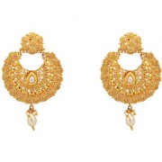 Chrishan Gold Plated Gorgeous Golden Designer Drop Earring For Women.