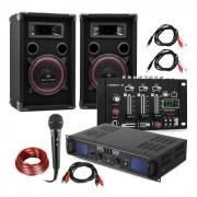 "Electronic-Star Equipo DJ PA ""DJ-14"" USB, amplificador PA, mezclador USB, 2 altavoces, micrófono para karaoke (PL-DJ-14_USB)"