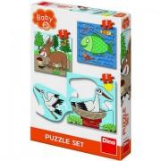 Set 3 Puzzle clasic pentru copii - Unde locuiesc animalele?