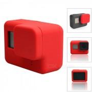funda de silicona protectora + cubierta de la tapa de la lente para GoPro Hero 5 - rojo