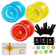 Pack of 3 MAGICYOYO Responsive YoYos K1-Plus Each with Yoyo Glove, Yoyo Bag, 3 Strings, in A Gift Box