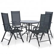vidaXL Set mobilier de exterior, 5 piese, aluminiu și textilenă, negru