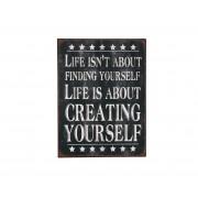 "Vintage metalen tekstbord ""Life isn't about finding..."" Metaal"