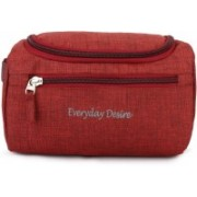 Everyday Desire Hanging Fabric Travel Toiletry Bag Organizer and Dopp Kit Travel Toiletry Kit(Red)