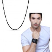 Cris Cross Bracelet Black Color with Stylish Ball Chain Black Color Man In Black Combo Just For Man in you