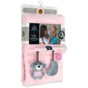 My Friend Huggles Plush Baby Blanket, Attached Toys, Pink