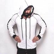 Bullywear Track Hoodie Long Sleeved Sweater White/Black LH76Z