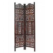 Shilpi Handicrafts Wooden Partition Leaf Design Decor Room Divider Screen Panel (2)
